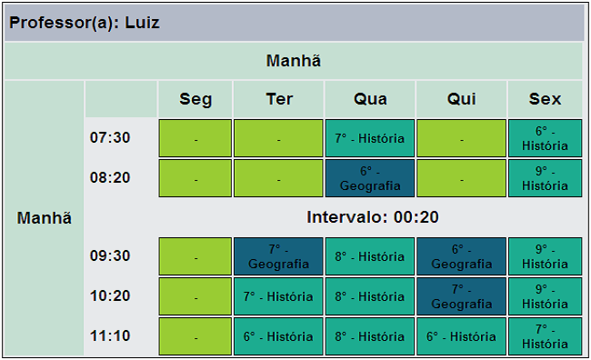 School Timetable's Easy Scheduler - Professor Result